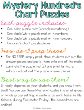 Spring Mystery Picture Hundred's Chart Puzzles