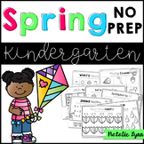 Spring No Prep Math and Literacy Worksheets for Kindergarten