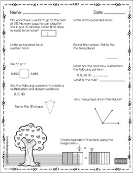 Spring NWEA MAP Test Prep Math  RIT Band 180-220 Flower Worksheets