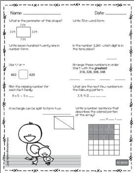 Spring Worksheets NWEA MAP Prep Math Practice RIT Band 180-220