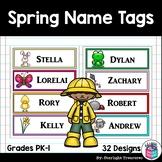 Spring Name Tags - Editable