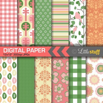 Spring Nature Digital Paper Pack, Pink Green Yellow Orange