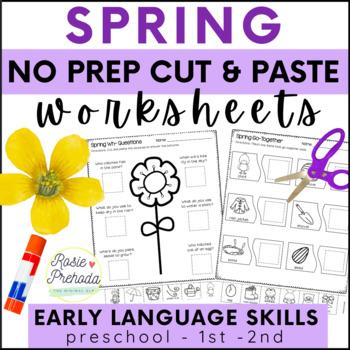 Spring No Prep Cut and Paste PreK-1 Language Activities
