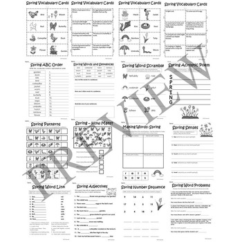 Spring No Prep Literacy and Math Activity Packet for Grade 2 3 4 or 5 Worksheets