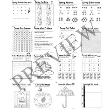 Spring No Prep Literacy and Math Activity Packet for Grade K or 1 Worksheets