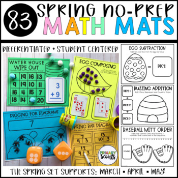 Spring No-Prep Math Center Mats, K-1 (25+ Activities for Stations)