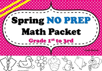 Spring No Prep Math Packet Kindergarten K1 to K5