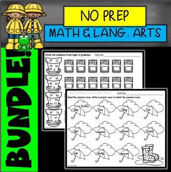 Spring No Prep Math and Language Arts Printables BUNDLE