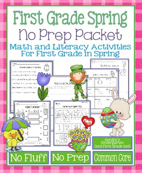 Spring No Prep Math and Literacy Packet for First Grade (Common Core)