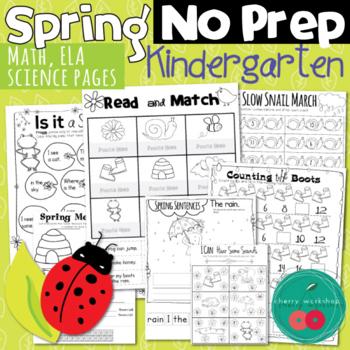 Spring Activities No Prep Kindergarten Pack
