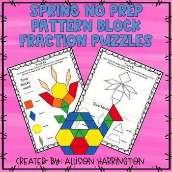 Spring No Prep Pattern Block Fraction Puzzles