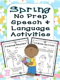 Spring No-Prep Speech & Language Activities