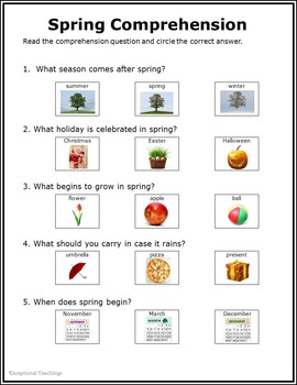 Spring Non-Fiction Packet for Autism and Special Education