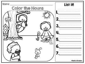 Spring Noun & Verb Color it