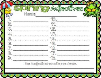 Spring Noun Verb and Adjective Sort #easterbunny