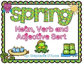 Spring Noun Verb and Adjective Sort