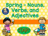 Spring - Nouns, Verbs, and Adjectives   Interactive PowerPoint Self Correcting
