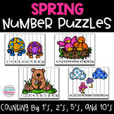 Spring Number Puzzles 0 to 100 and Skip Counting