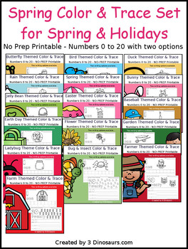 Spring Number Color and Trace Bundle
