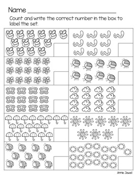 Spring Kindergarten Math Activities and Worksheets for the Common Core