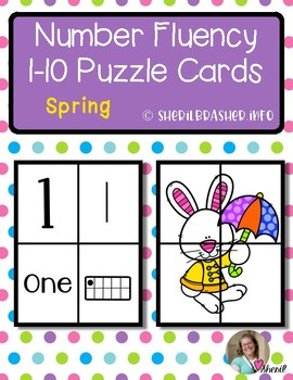 Spring Number Fluency Puzzle Cards | English | 1-10