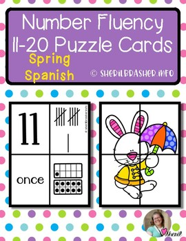 Spring Number Fluency Puzzle Cards | Spanish | 11-20
