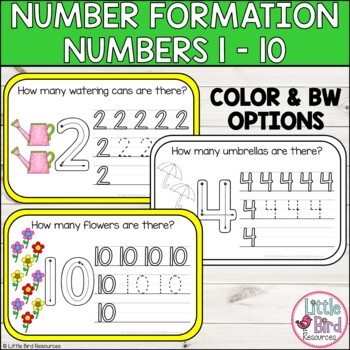 Spring Number Formation Practice Numbers 1 - 10