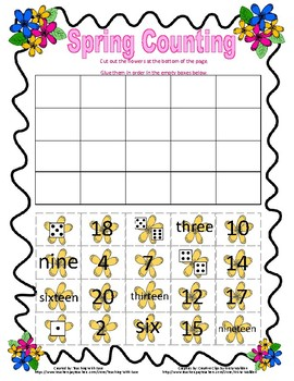 Spring Number Order (words, dice, and numbers)