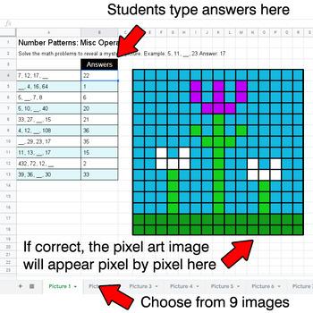Spring - Number Patterns: Misc Operations - Google Sheets Pixel Art
