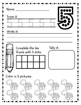 Spring Number Practice Packet, No Prep! {Numbers 1-10}