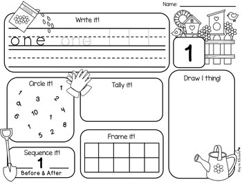 Spring Number Practice Printables - Weather, Bugs, Garden