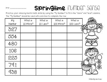 Spring Number Sense: 10 More, 10 Less, 100 More, 100 Less
