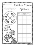 Spring Number Sense: 10 More, 10 Less, 100 More, 100 Less Spinners