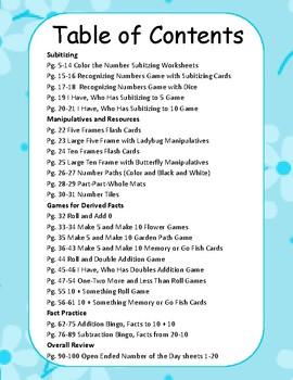 Spring Number Sense Packet for K and 1st Grade