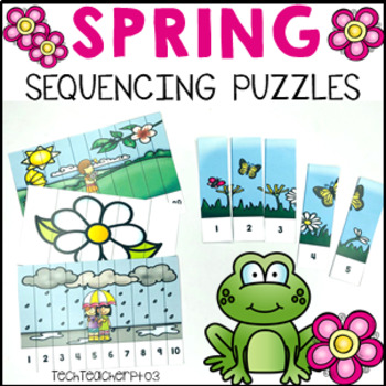 Spring Number Sequencing Puzzles 1-20 Cut and Paste Colour and B&W $1 DEAL