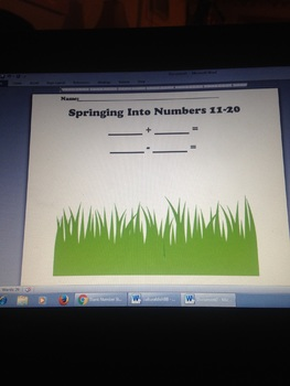 Spring Number Stories Bulletin Board Template