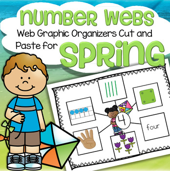 Spring Number Webs 1-10 Cut and Paste - 6 Ways That Numbers Can be Represented