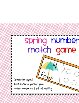 Spring Number to set matching game