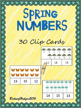 Spring Numbers 11-20 Clip Cards