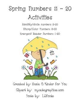 Spring Numbers 11-20 packet, games, worksheets, math, emergent reader