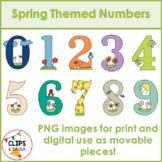 Spring Themed Number Clip Art for Digital & Paper Resources