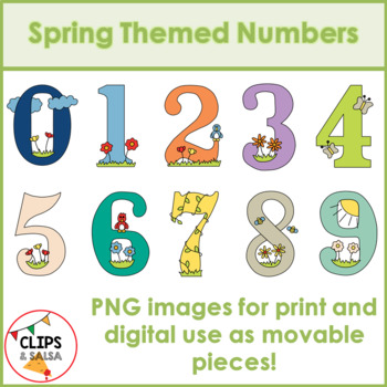 Spring Themed Number Clip Art for Digital & Paper Resources