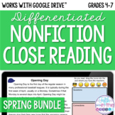 Spring Nonfiction Close Reading Comprehension Bundle - Onl