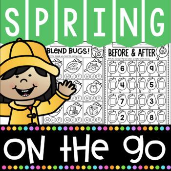 Kindergarten Math and Literacy Printables for Spring! No Prep Spring Worksheets!