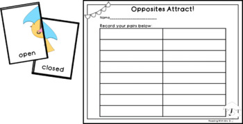 Spring Opposites Attract Antonym game and recording sheet