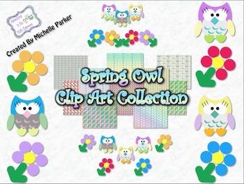 Spring Clip Art - Flowers & Owls
