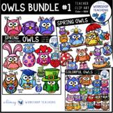 Owls Clip Art BUNDLE 1 (Springtime, Spring Celebrations, Colorful Owls)