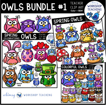 Spring Owls BUNDLE 1 -  Clip Art - Whimsy Workshop Teaching