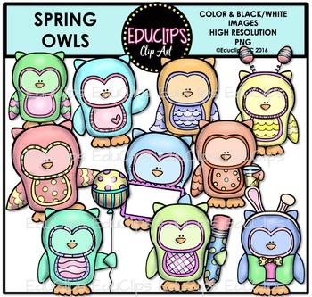 Spring Owls Clip Art Bundle {Educlips Clipart}