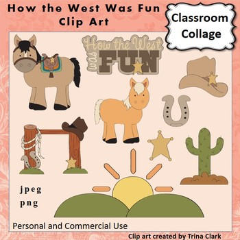 How The West Was Fun Clip Art  Color  personal & commercial use